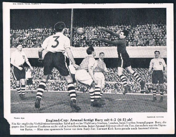1953 FA Cup 31 january 53 Arsenal v Bury at Highbury German newspaper supplement 3Mohren BRD